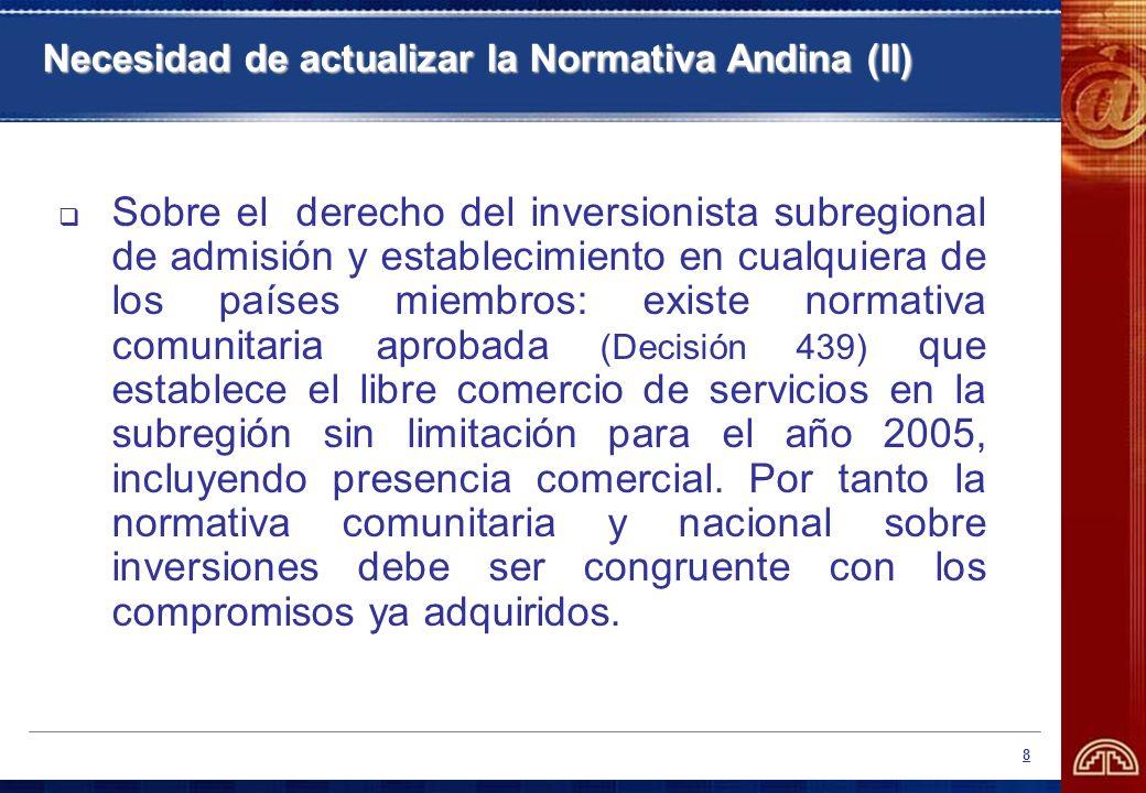 8 Necesidad de actualizar la Normativa Andina (II) Sobre el derecho del inversionista subregional de admisión y establecimiento en cualquiera de los p