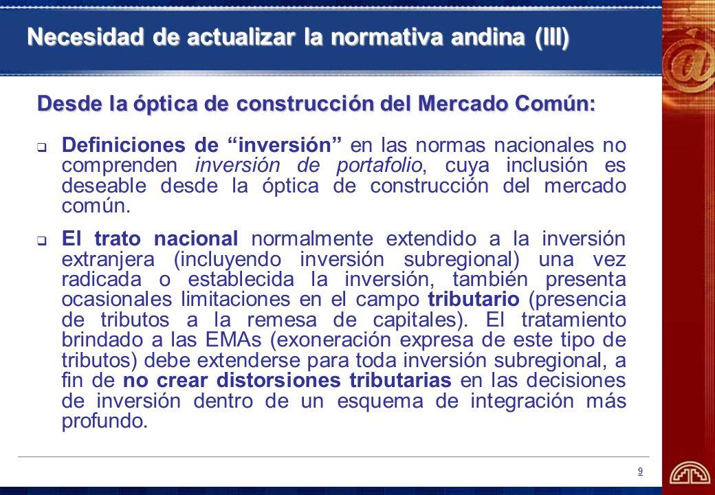 9 Necesidad de actualizar la normativa andina (III) Desde la óptica de construcción del Mercado Común: Definiciones de inversión en las normas naciona