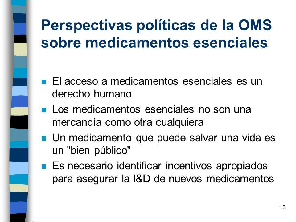 13 Perspectivas políticas de la OMS sobre medicamentos esenciales n El acceso a medicamentos esenciales es un derecho humano n Los medicamentos esenci