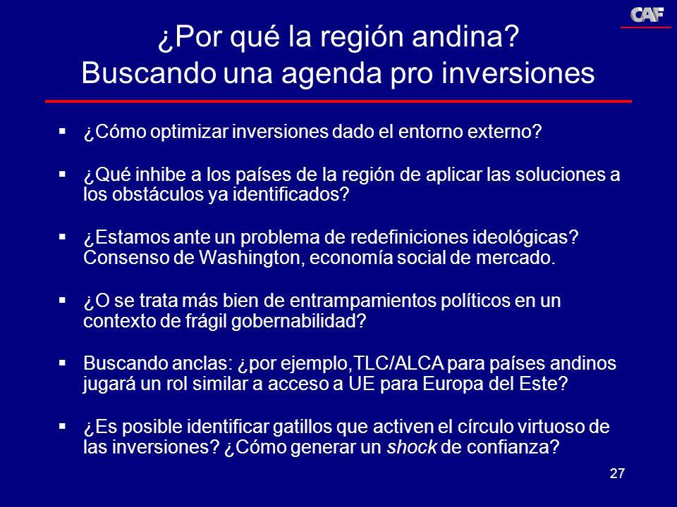 27 ¿Por qué la región andina? Buscando una agenda pro inversiones ¿Cómo optimizar inversiones dado el entorno externo? ¿Qué inhibe a los países de la