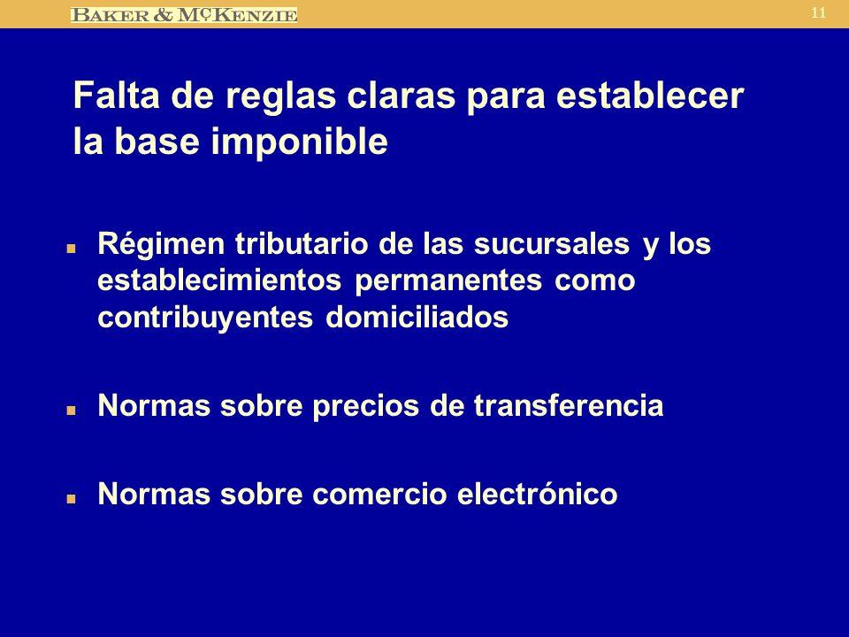11 Falta de reglas claras para establecer la base imponible n Régimen tributario de las sucursales y los establecimientos permanentes como contribuyentes domiciliados n Normas sobre precios de transferencia n Normas sobre comercio electrónico