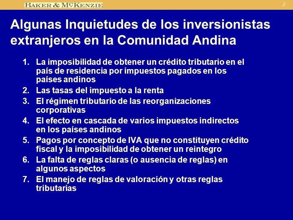 2 Algunas Inquietudes de los inversionistas extranjeros en la Comunidad Andina 1.