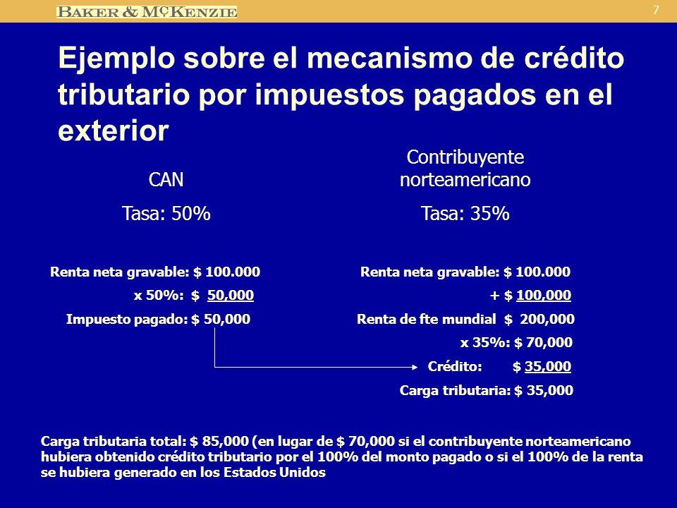 7 Ejemplo sobre el mecanismo de crédito tributario por impuestos pagados en el exterior CAN Tasa: 50% Contribuyente norteamericano Tasa: 35% Renta neta gravable: $ 100.000 x 50%: $ 50,000 Impuesto pagado: $ 50,000 Renta neta gravable: $ 100.000 + $ 100,000 Renta de fte mundial $ 200,000 x 35%: $ 70,000 Crédito: $ 35,000 Carga tributaria: $ 35,000 Carga tributaria total: $ 85,000 (en lugar de $ 70,000 si el contribuyente norteamericano hubiera obtenido crédito tributario por el 100% del monto pagado o si el 100% de la renta se hubiera generado en los Estados Unidos