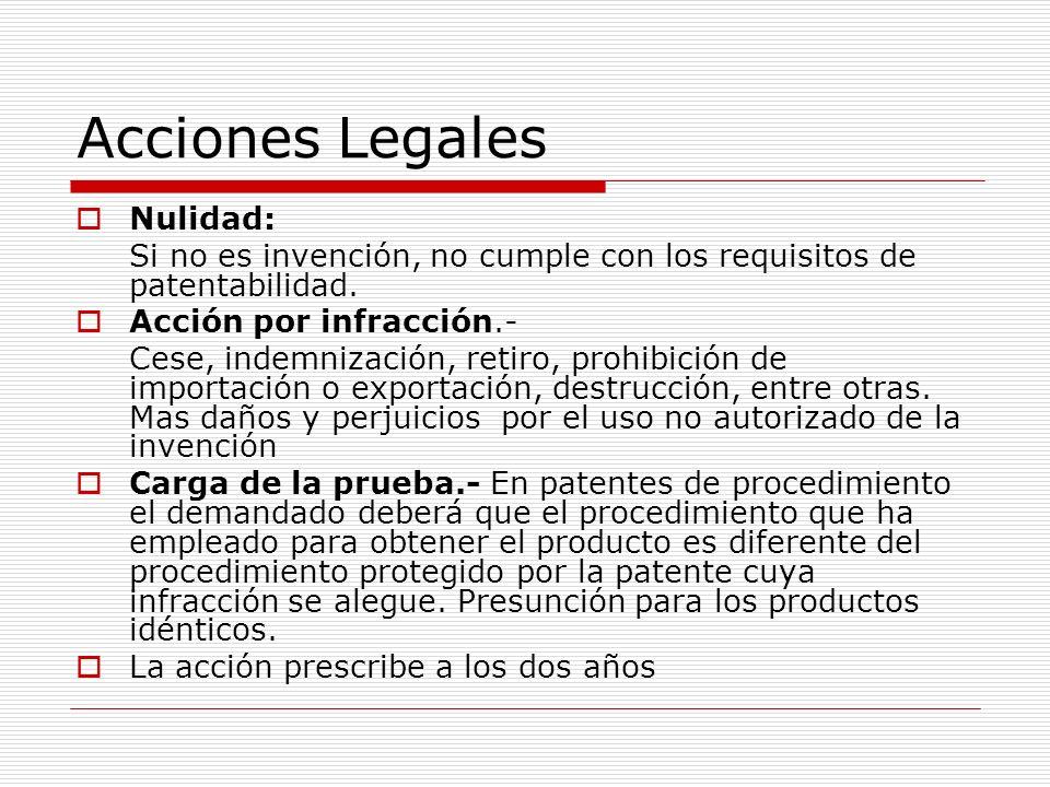 Acciones Legales Nulidad: Si no es invención, no cumple con los requisitos de patentabilidad. Acción por infracción.- Cese, indemnización, retiro, pro