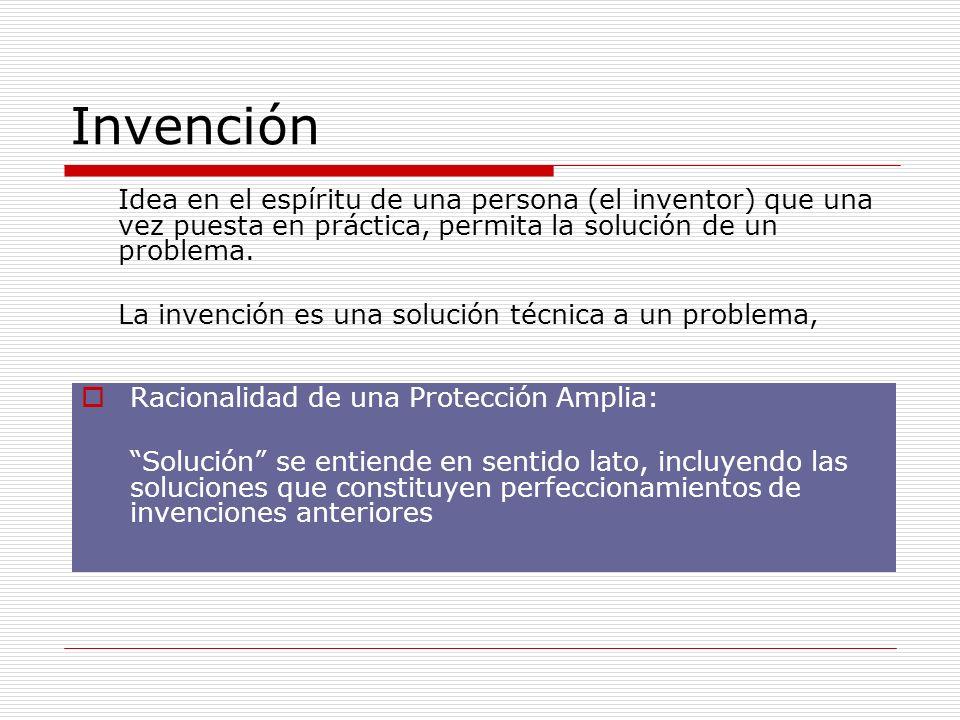Invención Idea en el espíritu de una persona (el inventor) que una vez puesta en práctica, permita la solución de un problema. La invención es una sol