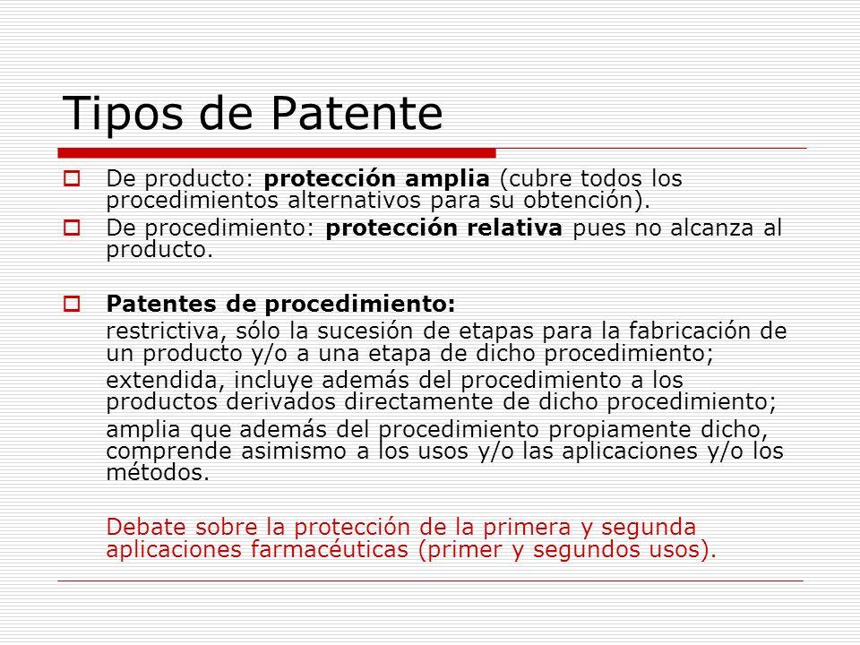 Tipos de Patente De producto: protección amplia (cubre todos los procedimientos alternativos para su obtención). De procedimiento: protección relativa
