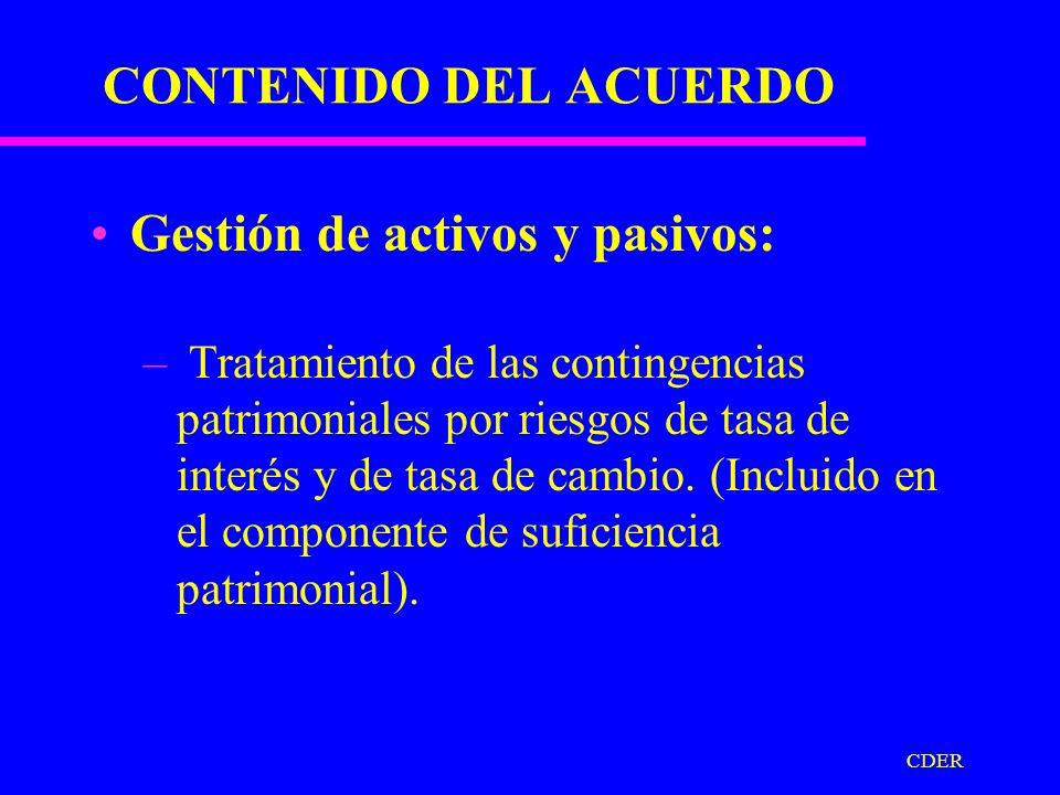 CDER CONTENIDO DEL ACUERDO Régimen de provisiones sobre activos: –Tipos de provisiones.
