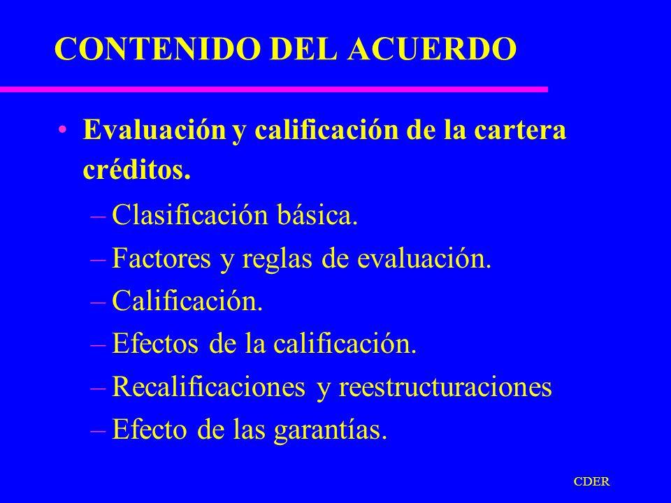 CDER CONTENIDO DEL ACUERDO Morosidad de Crédito: –Fundamentos.