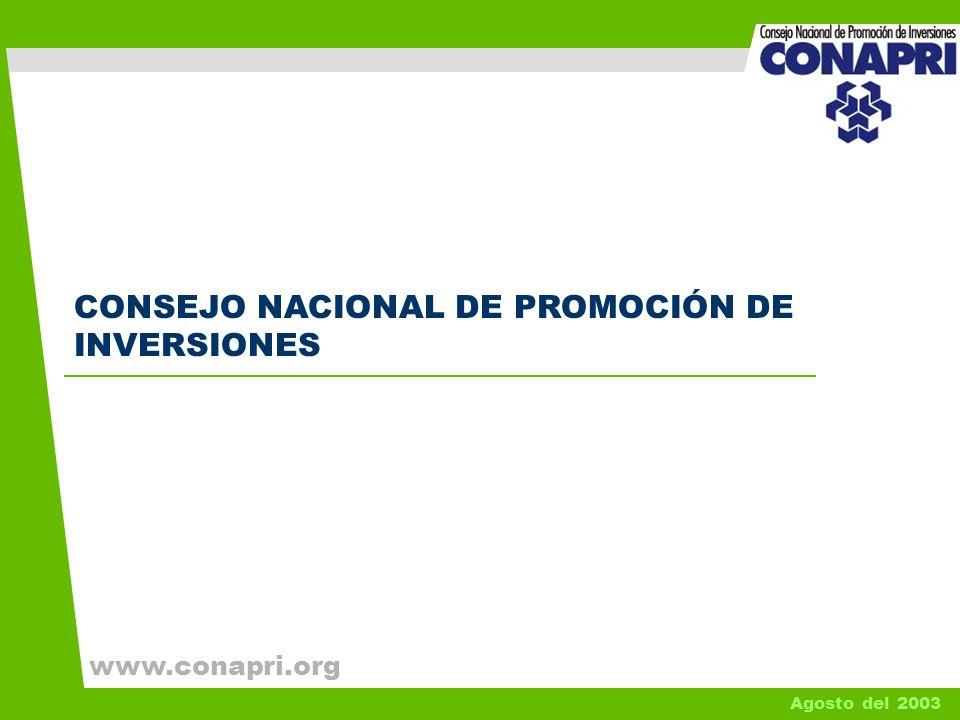 1 CONSEJO NACIONAL DE PROMOCIÓN DE INVERSIONES Agosto del 2003 www.conapri.org