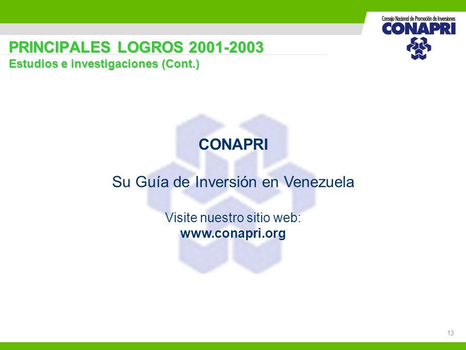 13 PRINCIPALES LOGROS 2001-2003 Estudios e investigaciones (Cont.) CONAPRI Su Guía de Inversión en Venezuela Visite nuestro sitio web: www.conapri.org
