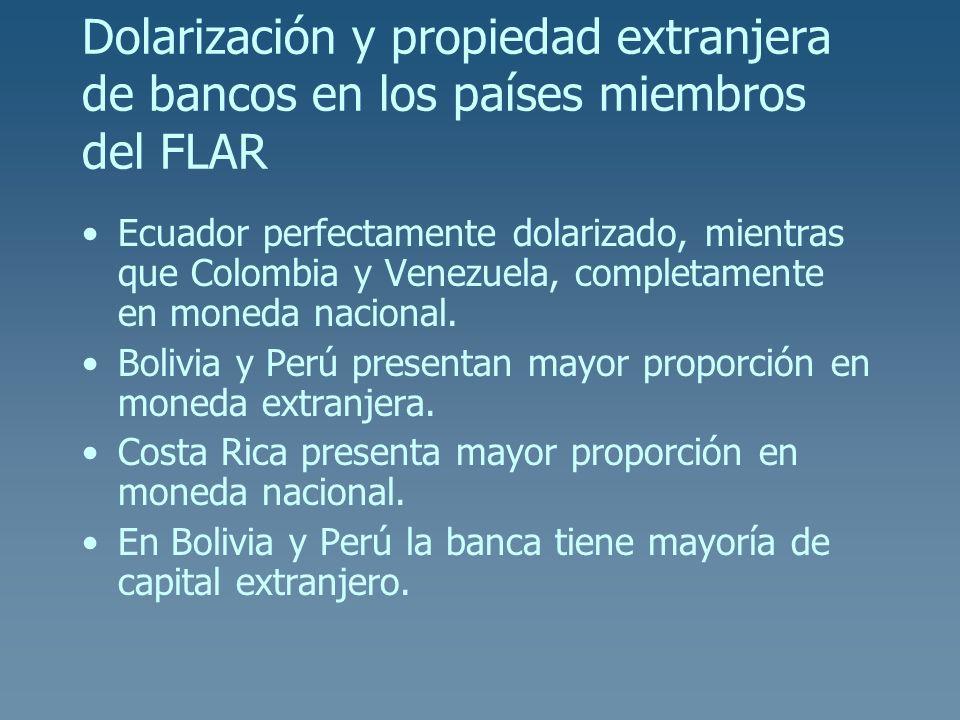 Dolarización y propiedad extranjera de bancos en los países miembros del FLAR Ecuador perfectamente dolarizado, mientras que Colombia y Venezuela, com