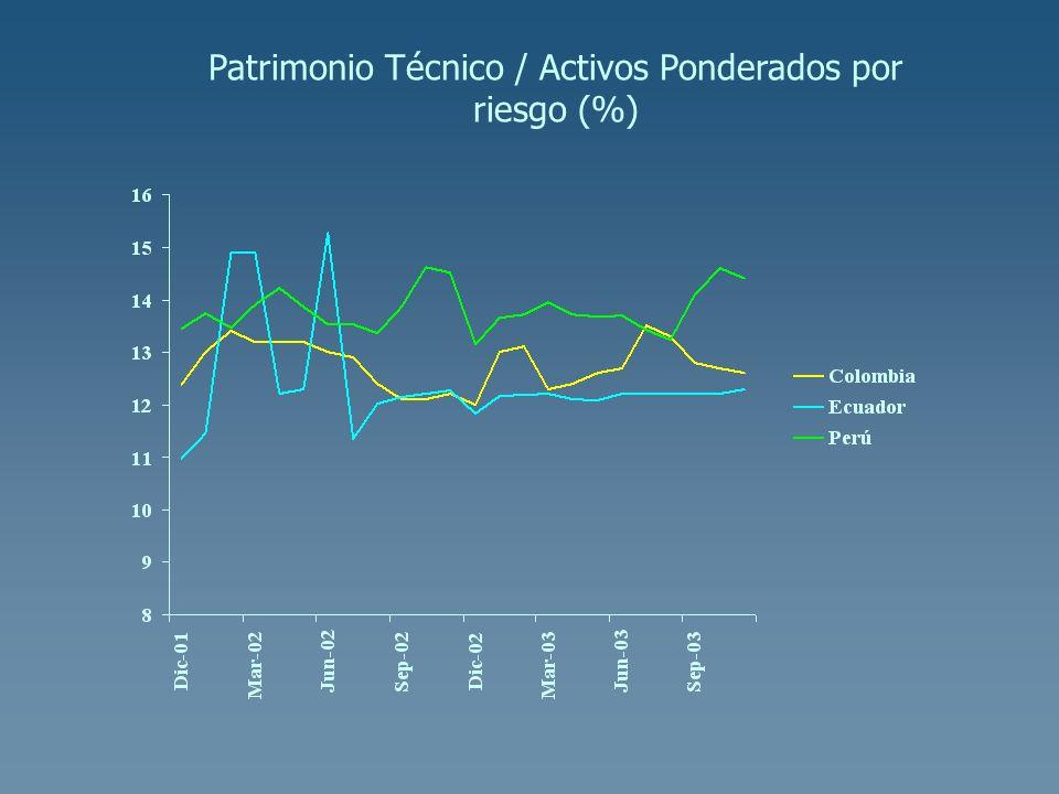 Patrimonio Técnico / Activos Ponderados por riesgo (%)