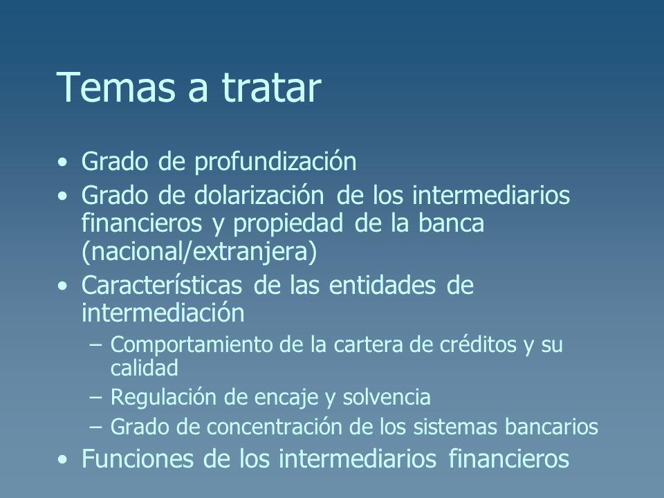 Temas a tratar Grado de profundización Grado de dolarización de los intermediarios financieros y propiedad de la banca (nacional/extranjera) Caracterí