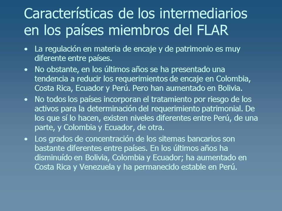 Características de los intermediarios en los países miembros del FLAR La regulación en materia de encaje y de patrimonio es muy diferente entre países
