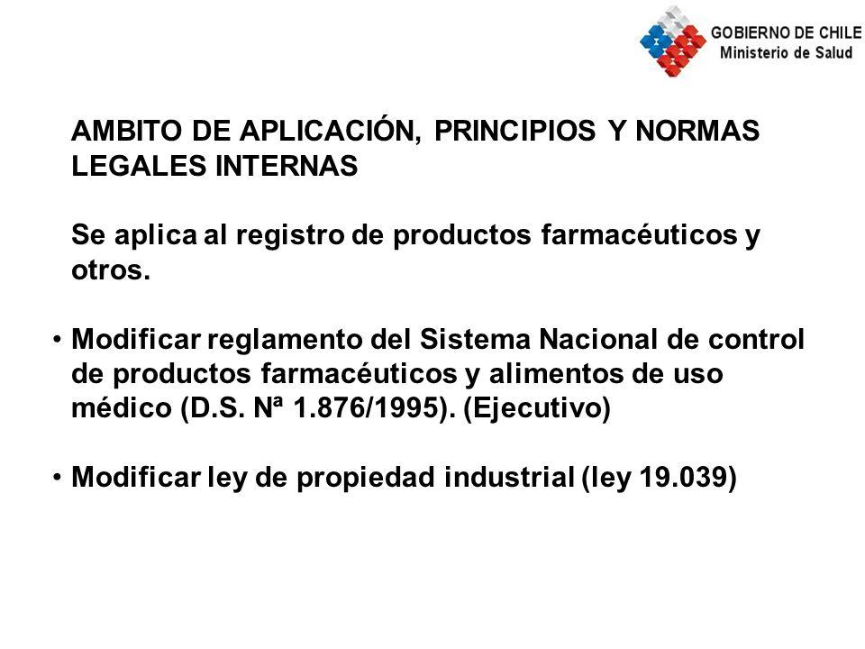 AMBITO DE APLICACIÓN, PRINCIPIOS Y NORMAS LEGALES INTERNAS Se aplica al registro de productos farmacéuticos y otros.