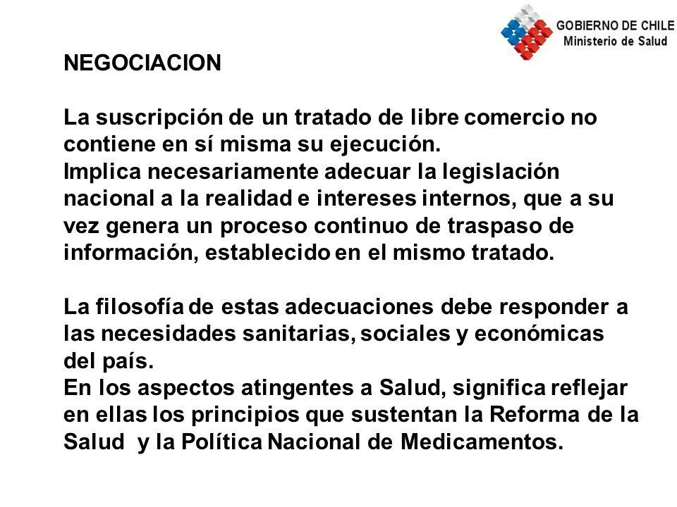 NEGOCIACION La suscripción de un tratado de libre comercio no contiene en sí misma su ejecución.