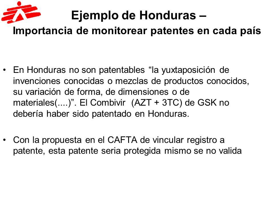 Ejemplo de Honduras – Importancia de monitorear patentes en cada país En Honduras no son patentables la yuxtaposición de invenciones conocidas o mezcl