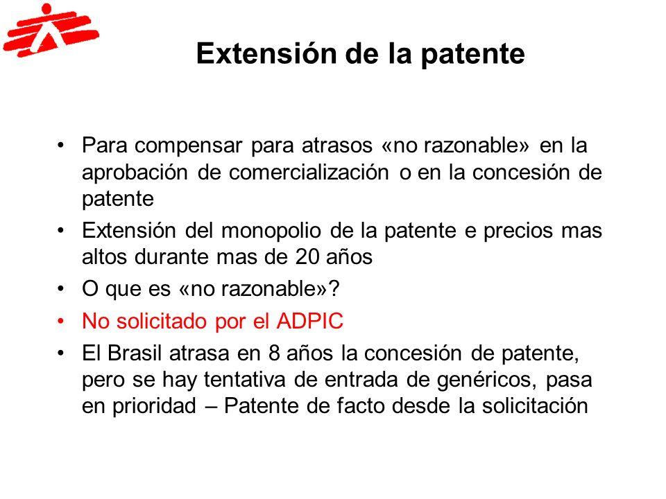 Extensión de la patente Para compensar para atrasos «no razonable» en la aprobación de comercialización o en la concesión de patente Extensión del mon