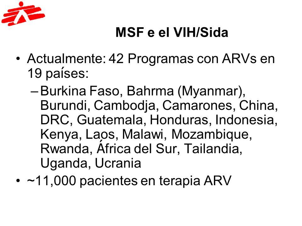 MSF e el VIH/Sida Actualmente: 42 Programas con ARVs en 19 pa í ses: –Burkina Faso, Bahrma (Myanmar), Burundi, Cambodja, Camarones, China, DRC, Guatem