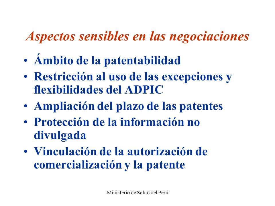 Ministerio de Salud del Perú Aspectos sensibles en las negociaciones Ámbito de la patentabilidad Restricción al uso de las excepciones y flexibilidade