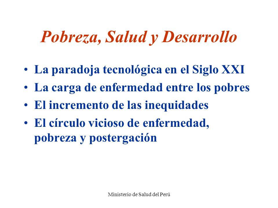 Ministerio de Salud del Perú Pobreza, Salud y Desarrollo La paradoja tecnológica en el Siglo XXI La carga de enfermedad entre los pobres El incremento