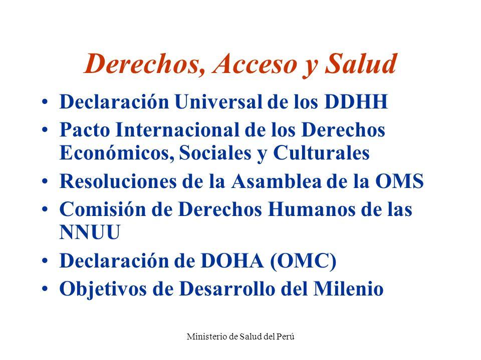 Ministerio de Salud del Perú Derechos, Acceso y Salud Declaración Universal de los DDHH Pacto Internacional de los Derechos Económicos, Sociales y Cul