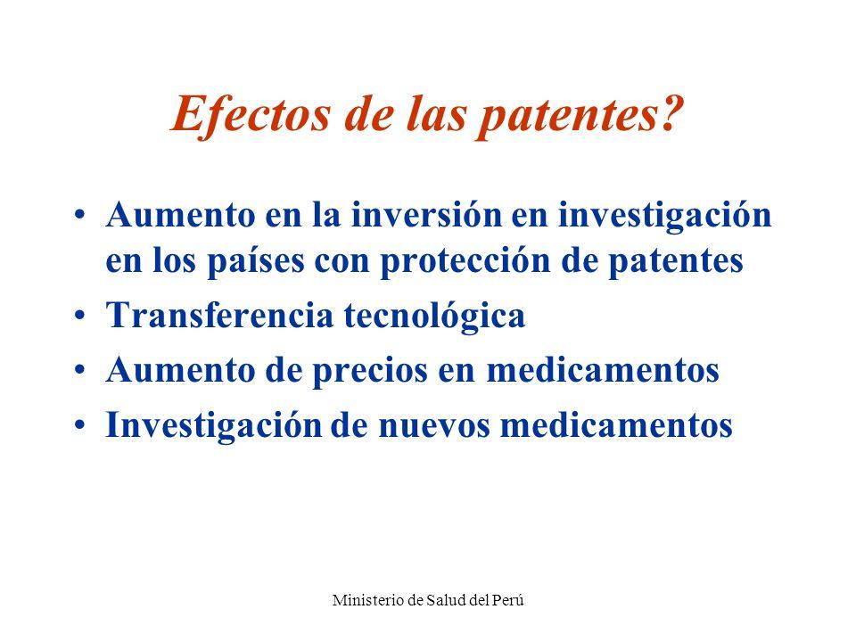 Ministerio de Salud del Perú Efectos de las patentes? Aumento en la inversión en investigación en los países con protección de patentes Transferencia
