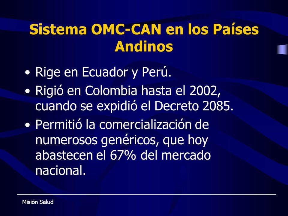 Sistema OMC-CAN en los Países Andinos Rige en Ecuador y Perú. Rigió en Colombia hasta el 2002, cuando se expidió el Decreto 2085. Permitió la comercia
