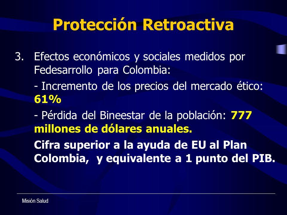 Protección Retroactiva 3. Efectos económicos y sociales medidos por Fedesarrollo para Colombia: - Incremento de los precios del mercado ético: 61% - P