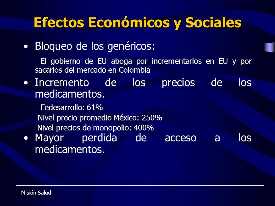 Efectos Económicos y Sociales Bloqueo de los genéricos: El gobierno de EU aboga por incrementarlos en EU y por sacarlos del mercado en Colombia Increm