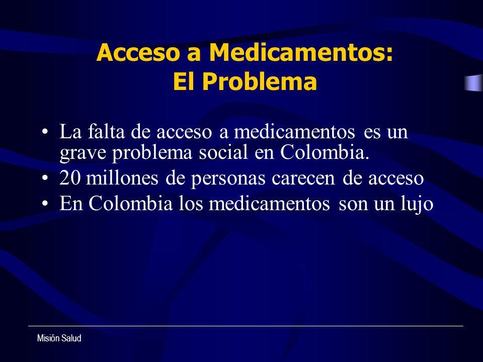 Acceso a Medicamentos: El Problema La falta de acceso a medicamentos es un grave problema social en Colombia. 20 millones de personas carecen de acces