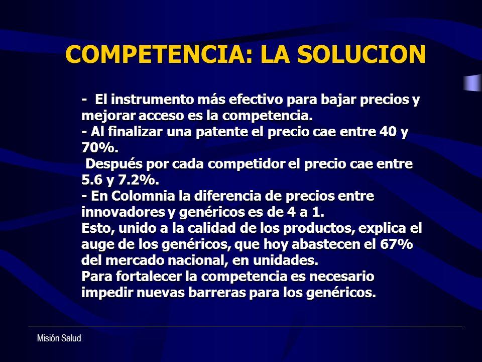 - El instrumento más efectivo para bajar precios y mejorar acceso es la competencia. - Al finalizar una patente el precio cae entre 40 y 70%. Después