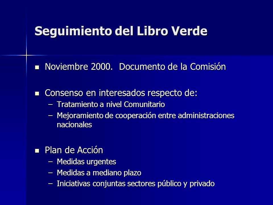 Seguimiento del Libro Verde Noviembre 2000. Documento de la Comisión Noviembre 2000. Documento de la Comisión Consenso en interesados respecto de: Con