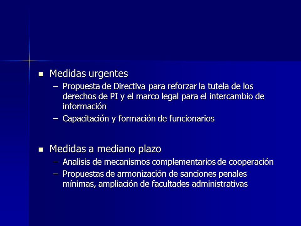 Medidas urgentes Medidas urgentes –Propuesta de Directiva para reforzar la tutela de los derechos de PI y el marco legal para el intercambio de inform