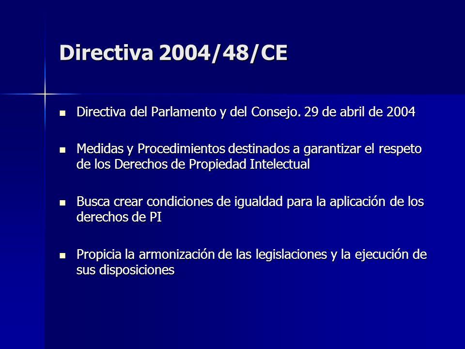Directiva 2004/48/CE Directiva del Parlamento y del Consejo. 29 de abril de 2004 Directiva del Parlamento y del Consejo. 29 de abril de 2004 Medidas y