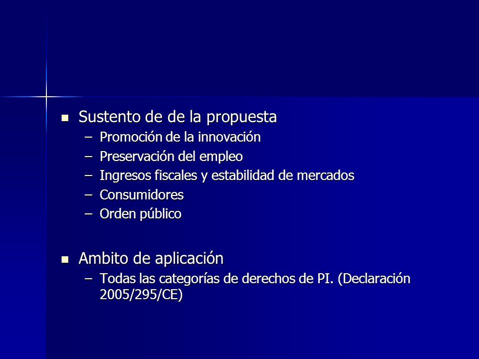 Sustento de de la propuesta Sustento de de la propuesta –Promoción de la innovación –Preservación del empleo –Ingresos fiscales y estabilidad de merca