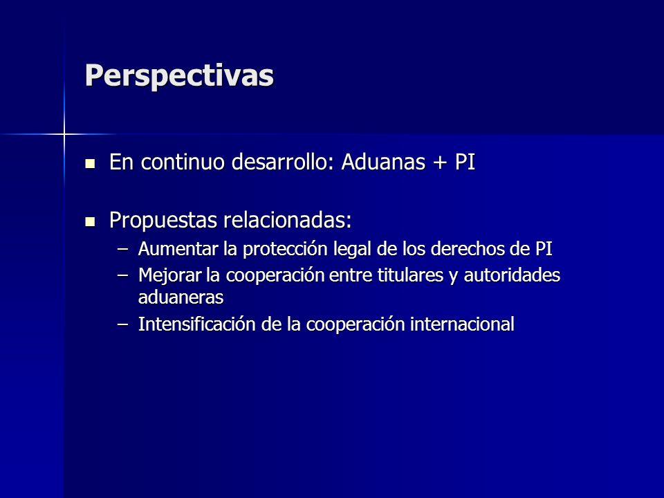Perspectivas En continuo desarrollo: Aduanas + PI En continuo desarrollo: Aduanas + PI Propuestas relacionadas: Propuestas relacionadas: –Aumentar la