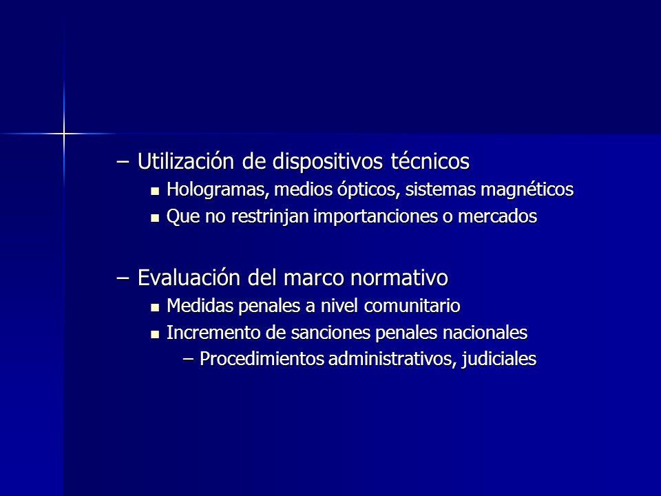–Utilización de dispositivos técnicos Hologramas, medios ópticos, sistemas magnéticos Hologramas, medios ópticos, sistemas magnéticos Que no restrinja