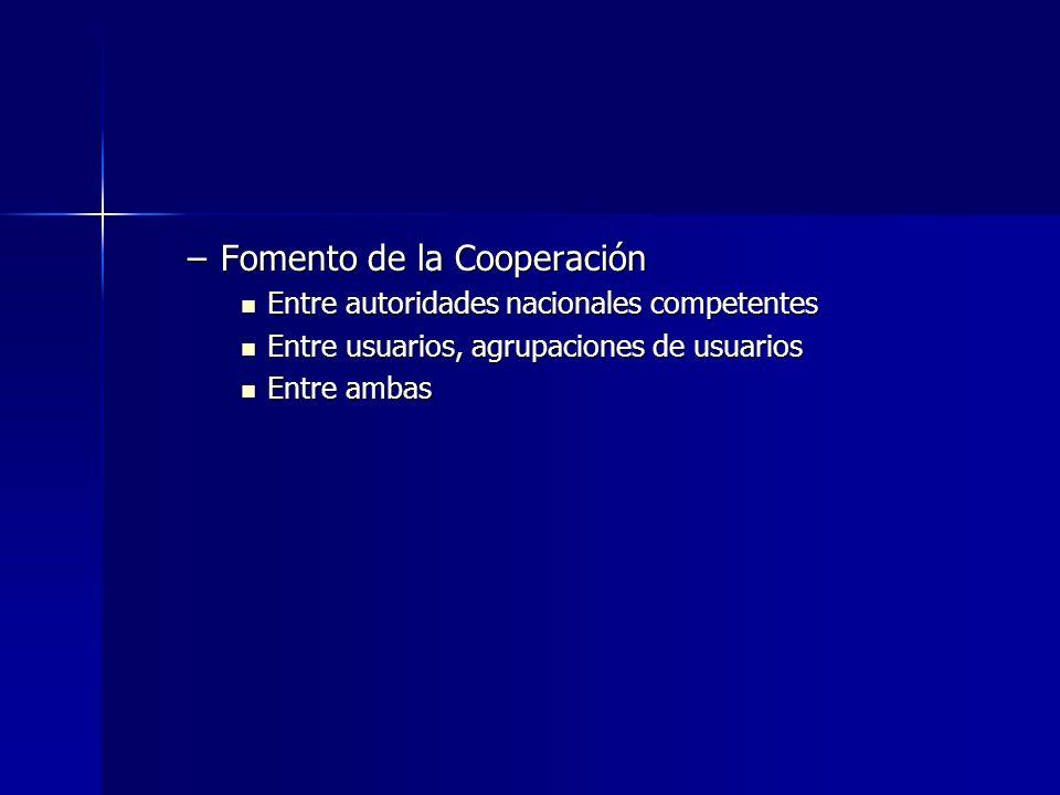–Fomento de la Cooperación Entre autoridades nacionales competentes Entre autoridades nacionales competentes Entre usuarios, agrupaciones de usuarios