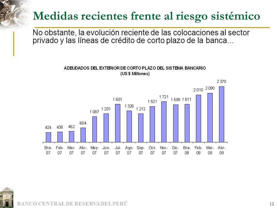 BANCO CENTRAL DE RESERVA DEL PERÚ 13 Medidas recientes frente al riesgo sistémico No obstante, la evolución reciente de las colocaciones al sector pri