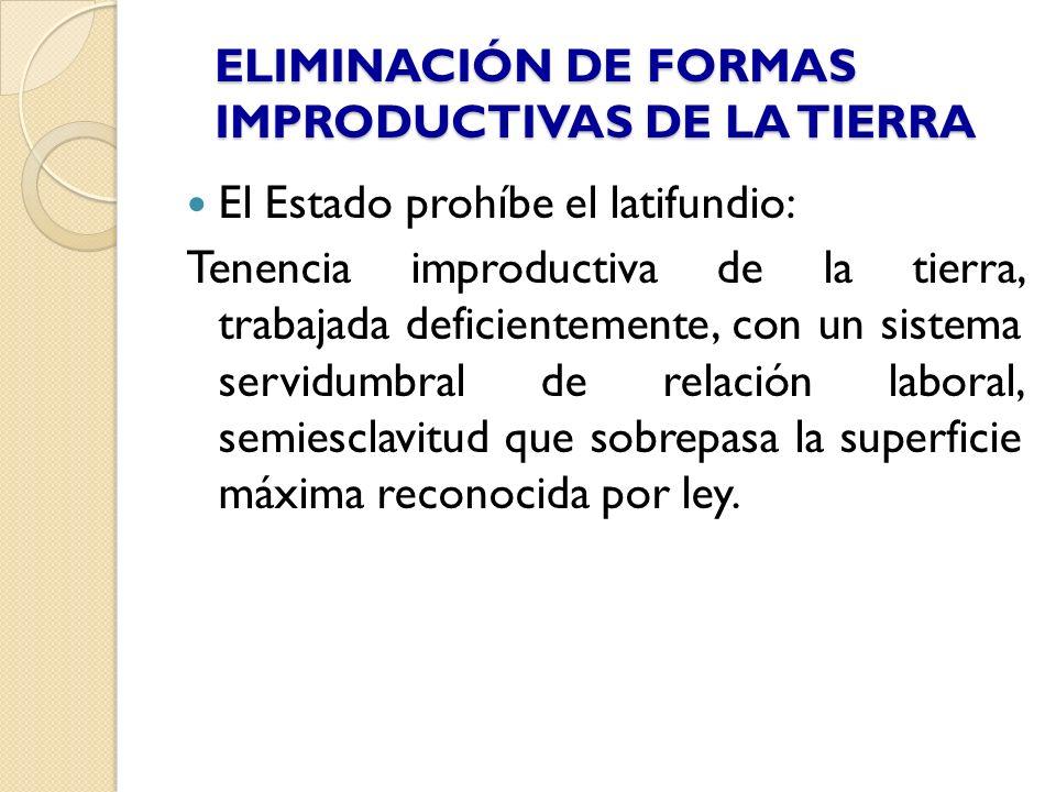 ELIMINACIÓN DE FORMAS IMPRODUCTIVAS DE LA TIERRA El Estado prohíbe el latifundio: Tenencia improductiva de la tierra, trabajada deficientemente, con u