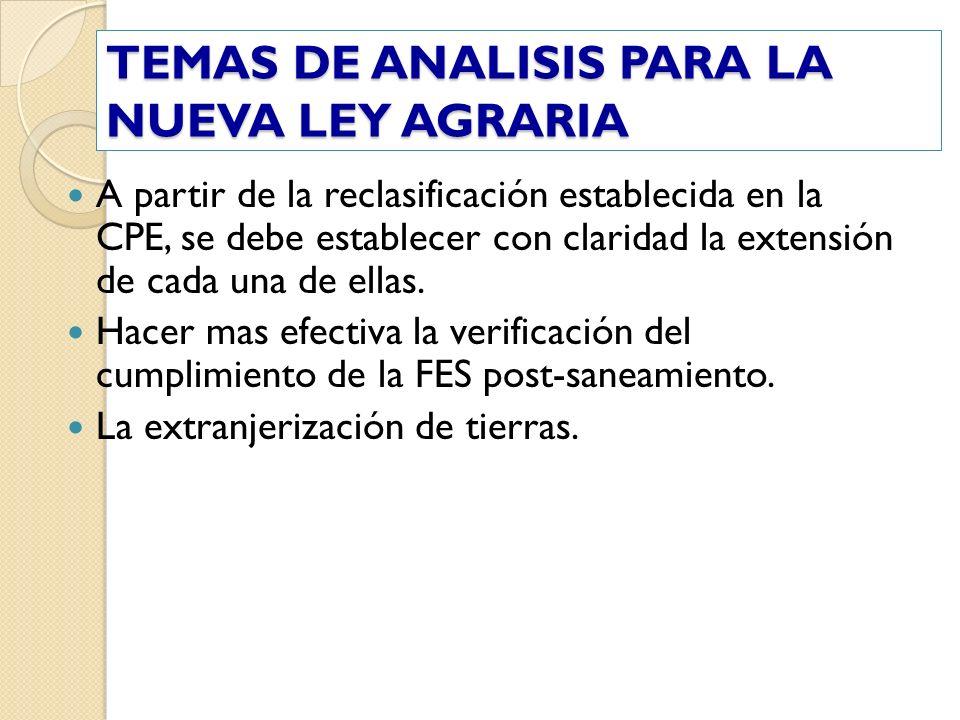 TEMAS DE ANALISIS PARA LA NUEVA LEY AGRARIA A partir de la reclasificación establecida en la CPE, se debe establecer con claridad la extensión de cada