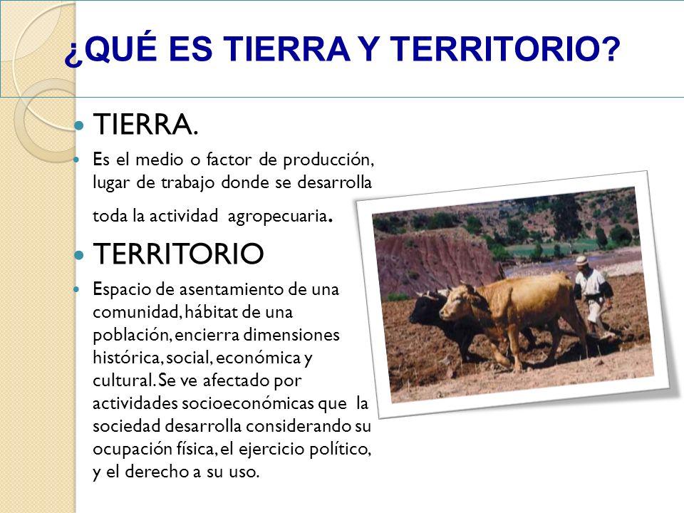 TIERRA. Es el medio o factor de producción, lugar de trabajo donde se desarrolla toda la actividad agropecuaria. TERRITORIO Espacio de asentamiento de