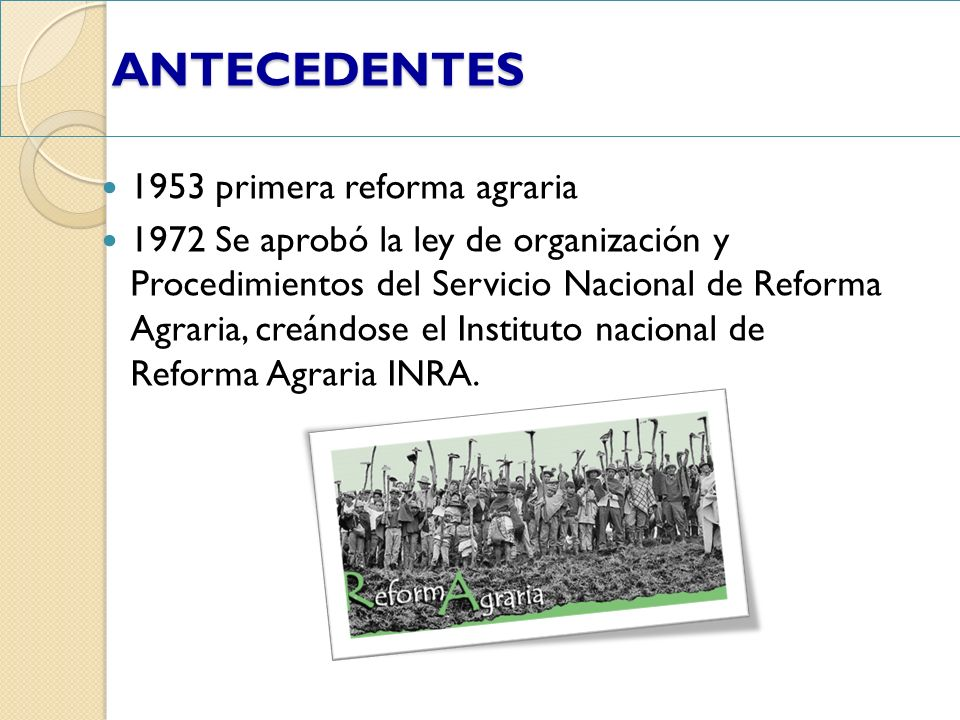 ANTECEDENTES ANTECEDENTES 1953 primera reforma agraria 1972 Se aprobó la ley de organización y Procedimientos del Servicio Nacional de Reforma Agraria