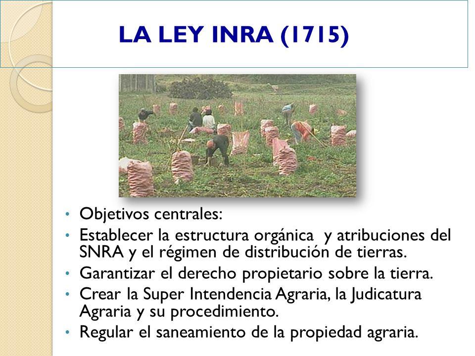 Objetivos centrales: Establecer la estructura orgánica y atribuciones del SNRA y el régimen de distribución de tierras. Garantizar el derecho propieta