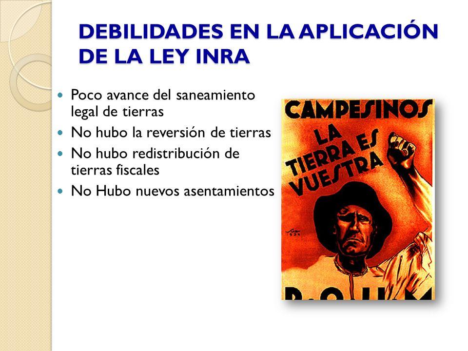 DEBILIDADES EN LA APLICACIÓN DE LA LEY INRA Poco avance del saneamiento legal de tierras No hubo la reversión de tierras No hubo redistribución de tie