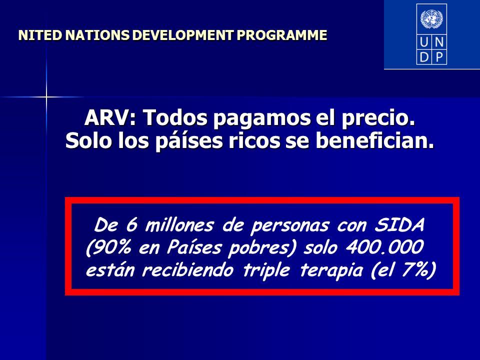 NITED NATIONS DEVELOPMENT PROGRAMME ARV: Todos pagamos el precio. Solo los páíses ricos se benefician. De 6 millones de personas con SIDA (90% en País