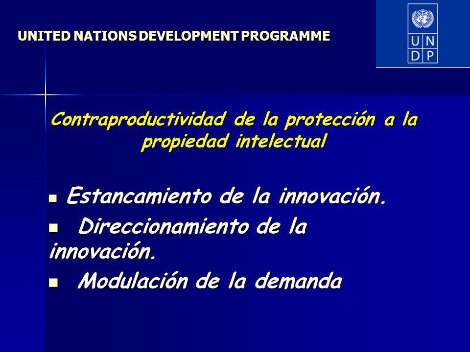 UNITED NATIONS DEVELOPMENT PROGRAMME Contraproductividad de la protección a la propiedad intelectual Estancamiento de la innovación.