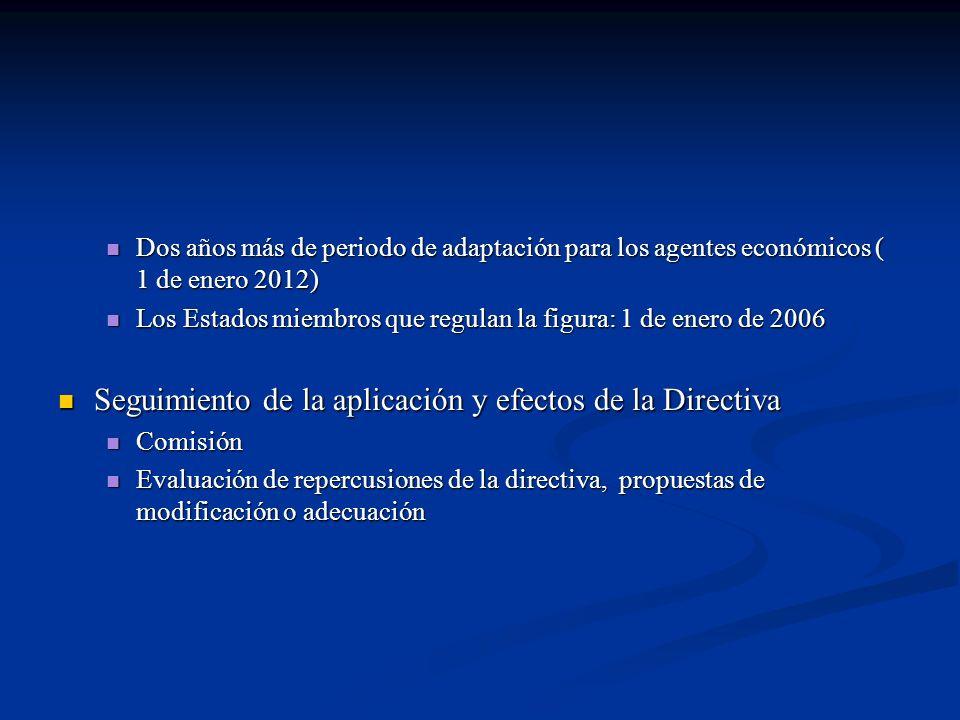 Dos años más de periodo de adaptación para los agentes económicos ( 1 de enero 2012) Dos años más de periodo de adaptación para los agentes económicos ( 1 de enero 2012) Los Estados miembros que regulan la figura: 1 de enero de 2006 Los Estados miembros que regulan la figura: 1 de enero de 2006 Seguimiento de la aplicación y efectos de la Directiva Seguimiento de la aplicación y efectos de la Directiva Comisión Comisión Evaluación de repercusiones de la directiva, propuestas de modificación o adecuación Evaluación de repercusiones de la directiva, propuestas de modificación o adecuación