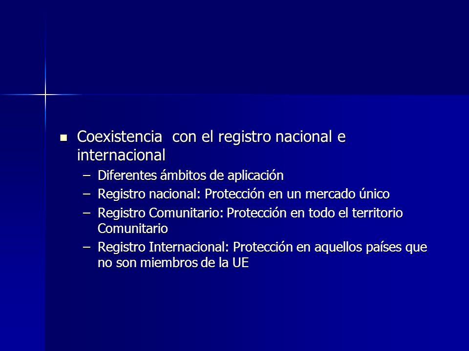 Coexistencia con el registro nacional e internacional Coexistencia con el registro nacional e internacional –Diferentes ámbitos de aplicación –Registr